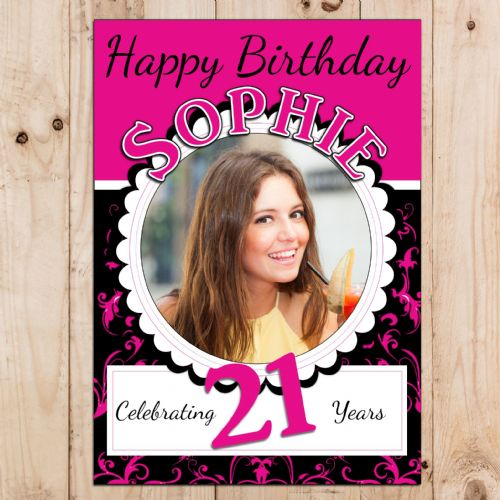 Personalised Bright Pink & Black Happy Birthday Party PHOTO Banner Poster N46